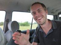 Ein Mistkaefer auf Bernd's Hand