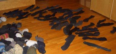 Bild mit vielen einzelnen Socken. Von Viki auch liebevoll Socken-Memory genannt.